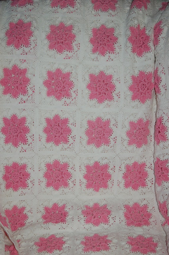 Vintage Hand Crochet Bedspread, Knitted Coverlet, French Romantic Cover, Pink Flowers Blanket, Shabby Sweet Chic Blanket, Heirloom Coverlet