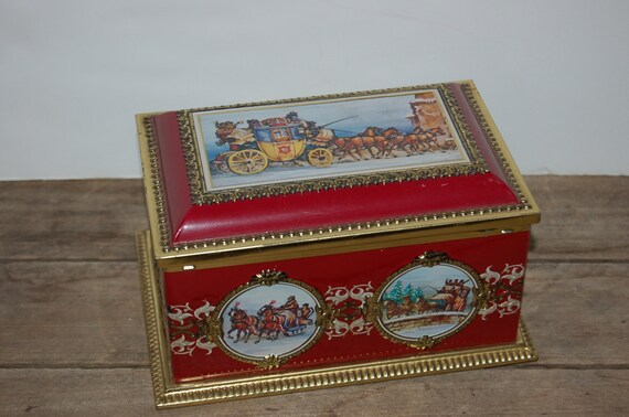 Vintage Klann Tin, Horse and Carriage Tin, Red and Gold Tin, Kitchen Tin, Kitchen Collectible, Stagecoach Tin, West Germany Tin, Lidded Tin