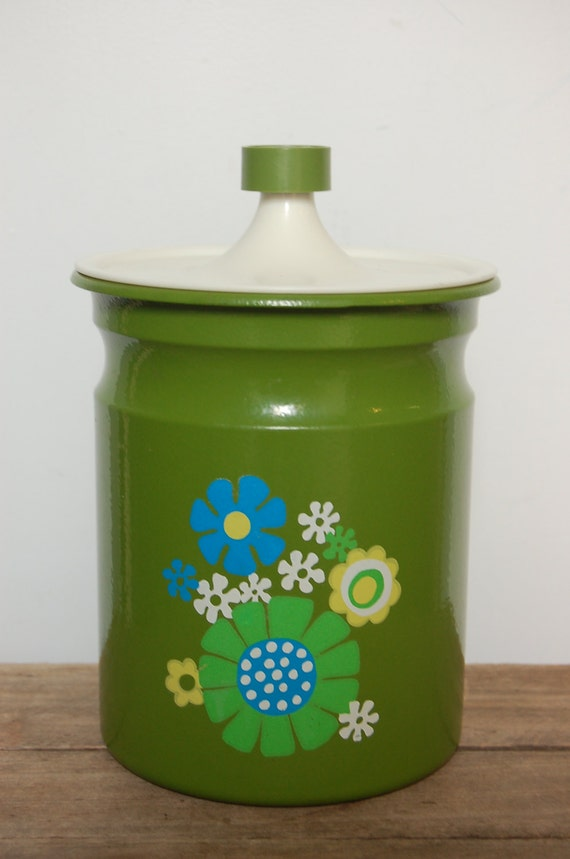 Vintage Kromex Canister, Avocado Green Kitchen Canister, Floral Canister, Retro Kitchen Canister, Made in USA, Organize in Style