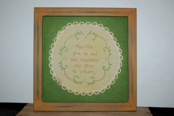 Vintage Embroidery Print, Needlework Embroidery Art, Happiness Framed Picture, May Life Give to You the Happiness You Give to Others