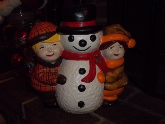 Vintage Frosty the Snowman, Ceramic Statue, Winter Wonderland, Frosty and Kids, Christmas Decor