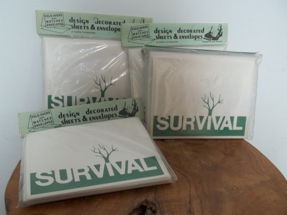 Vintage Greeting Cards, Survival Fold over Cards with Matching Envelopes,  Zombie Themed Party Invites