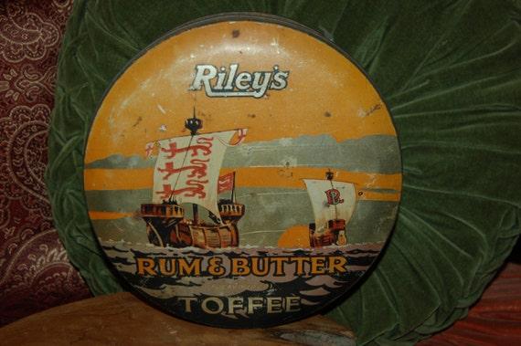 Vintage Tin, Toffee Tin, Riley's Rum and Butter Toffee Tin, Kitchen Collectible, Nautical Tin