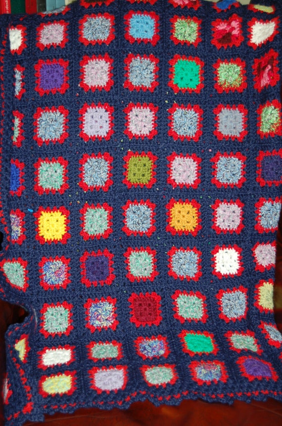 Hand Crochet Blue Granny Square Afghan, Vintage Knit Blanket, Cozy Cabin, Lap Blanket, Stay Warm Blanket, Great Gift Idea