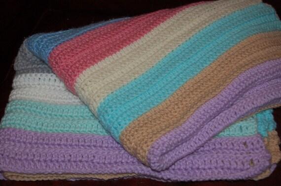 Vintage Afghan, Crochet Blanket, Baby Blanket, Handmade Blanket, Vintage Nursery, Striped Blanket, Multi-colored Blanket