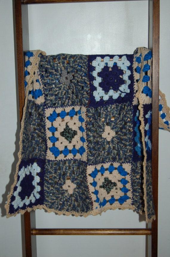 Vintage Afghan, Crochet Blanket, Baby Blanket, Blue Grey Tan Blanket, Vintage Nursery, Cottage Chic Blanket, Baby Boy Blanket