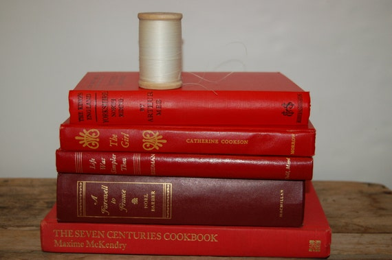 Red Books Collection, Vintage Bookshelf Decor, Home Decor, Instant Library Decor