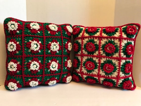 Pair of Granny Square Christmas Pillows | Vintage Christmas Pillows | Red and Green Pillows | Retro Christmas | Cottage Christmas