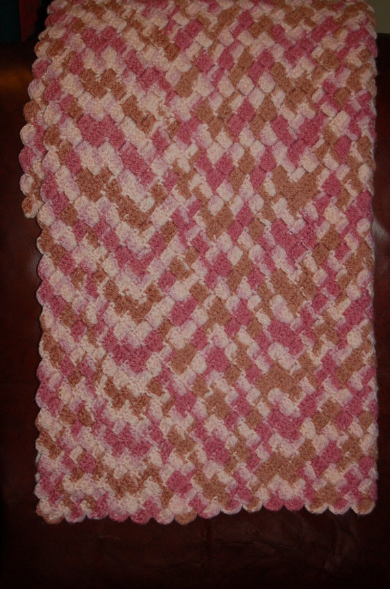 Vintage Afghan, Crochet Blanket, Baby Blanket, Handmade Blanket, Vintage Nursery, Patterned Blanket, Pink and Purple Blanket
