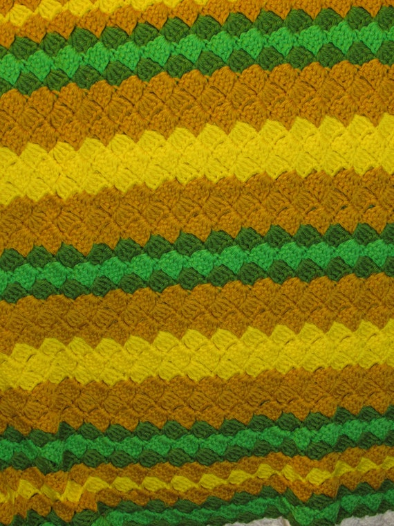Vintage Afghan, Knit Blanket, Green Yellow and Brown Blanket, Fall Colors Cover, Housewarming Blanket, Reading Wrap