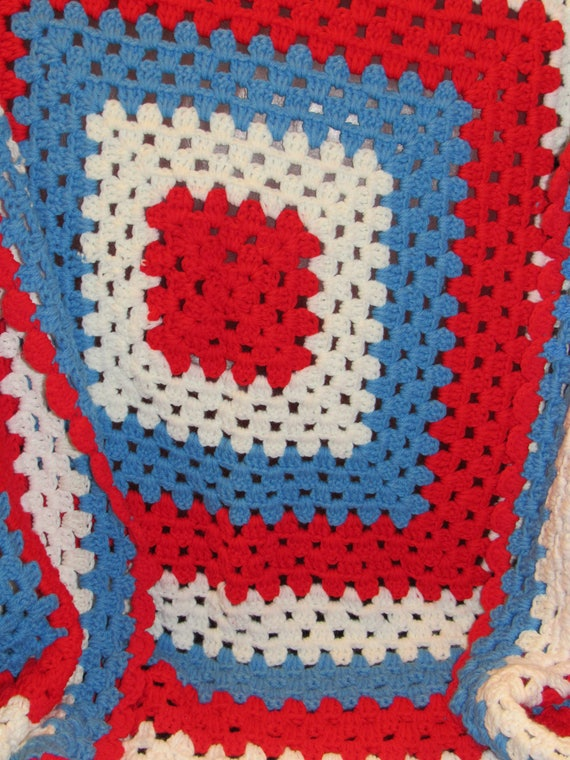 Vintage Afghan, Red White and Blue Blanket, Americana, Fourth of July Blanket, Celebrate the 4th of July, Knit Blanket