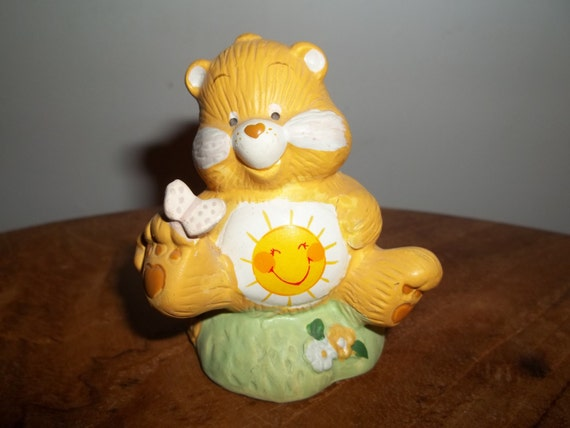 Vintage Care Bear, Funshine Bear, Butterfly, Ceramic Collectible, Care Bears 1980s