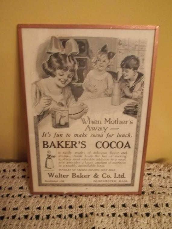 Vintage Cocoa Ad, Baker's Cocoa Ad, Vintage Ad, 1921 Cocoa Ad, Metal and Glass Framed Ad, Retro Kitchen Collectible