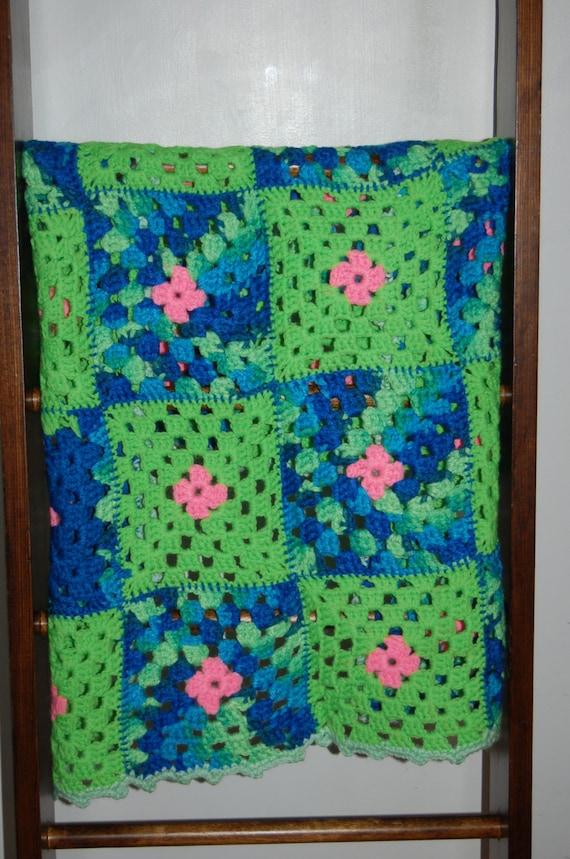 Vintage Afghan, Crochet Blanket, Baby Blanket, Blue Green Pink Blanket, Vintage Nursery, Cottage Chic Blanket, Baby Girl Blanket