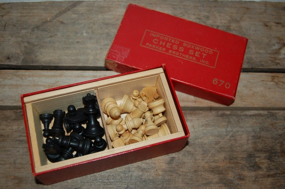 Vintage Boxwood Chess Set, Parker Brothers Chess, Vintage Game, Imported from France, Box Included