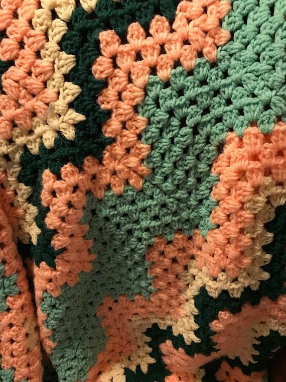 Pink Aqua Green Yellow Crocheted Afghan | Vintage Knit Blanket | Cottage Chic | Wedding Gift | Nursery | Heirloom Keepsake | Lancaster PA