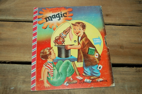 Hocus Pocus Magic Bonnie Spinwheel Book,  1951 Printing Date, Vintage Child's Book, Vintage Magic Trick Ideas, Wheel Still Works