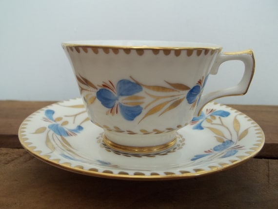 H & M Sutherland Tea Cup and Saucer | Blue and Gold Pattern Cup | English Tea Cup Set | China Tea Cup | Fancy Tea Party