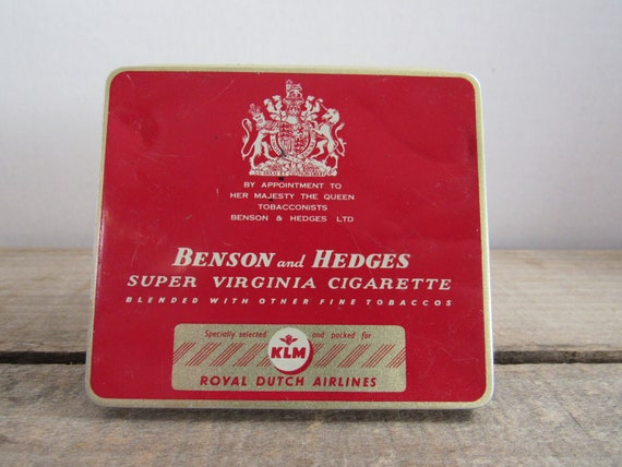 Vintage Benson and Hedges Cigarette Tin ~ Royal Dutch Airlines Tin ~ London Collectors Tin ~ Red and Gold Tin ~ KLM Airlines ~ Tobacco Tin