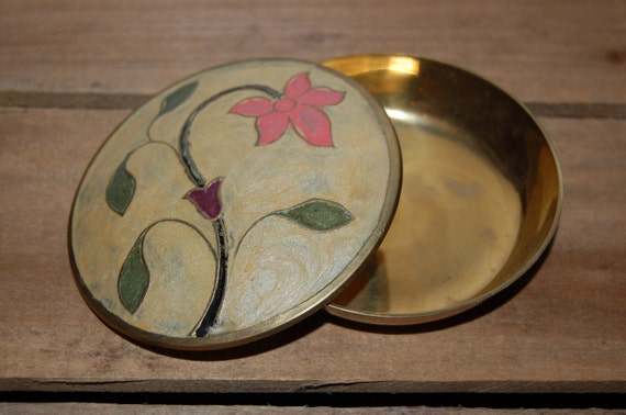 Vintage Floral Solid Brass Trinket Box, Brass Jewelry Box, Floral Jewelry Box, Organize, Hand Painted Enamel Design