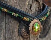 Green Crystal Browband, with faux opal centerpiece, warmblood sized, v shaped