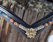 Crystal star beaded leather browband, 15 inch browband, horse sized, v shaped