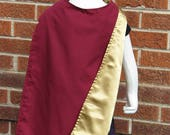 Cape,  Burgundy Cotton and Gold Satin, Vision Avengers Inspired