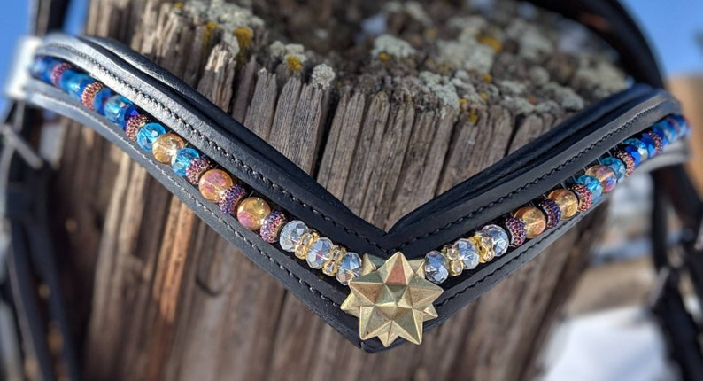 Crystal star beaded leather browband 15 inch browband horse image 0