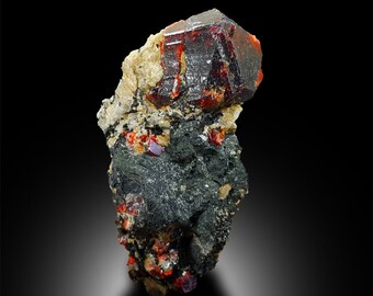 80 Gram Zircon Crystal 51*42*31 mm Terminated Blood Red Color Rare Zircon Crystal On Matrix Specimen