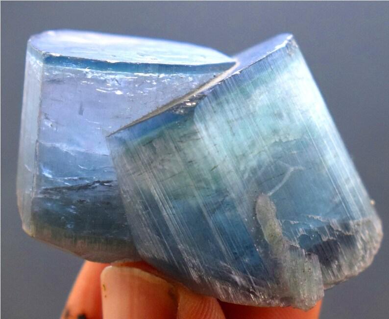 Blue Cap Natural Tourmaline Crystals Specimen  46 Gram  image 0