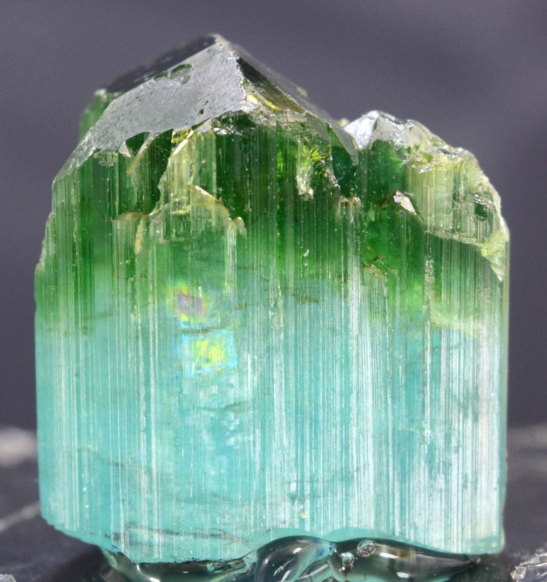 24.40 carats Terminated Bi Color Natural Tourmaline Crystal from Paprok 19*11*13 mm Tourmaline Crystal