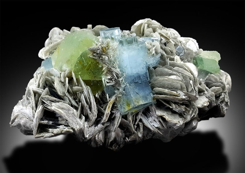Aquamarine Crystals with Green Fluorite and Mica Mineral image 0