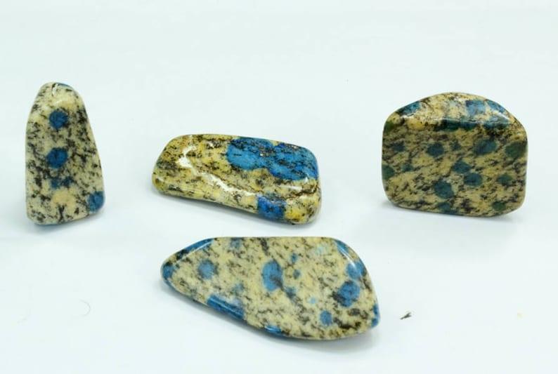 59 Gram 04 pieces Lot Of Unique K2Nite Granite with Blue Azurite Circles Polished Tumble