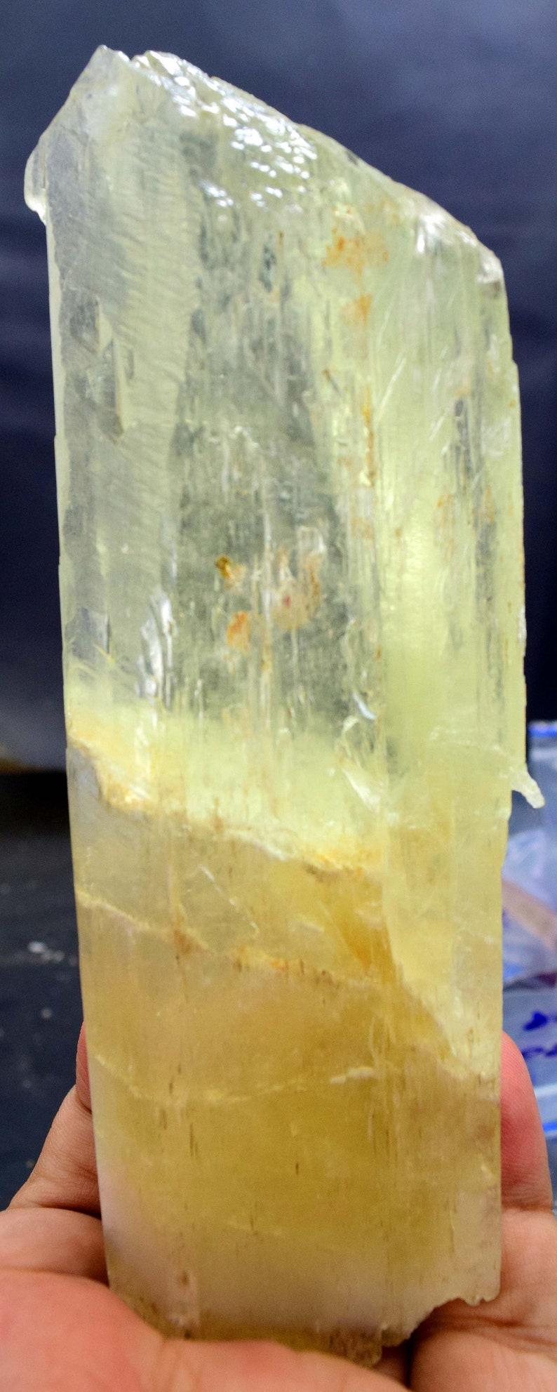 Yellow Kunzite Triphane Crystal  396 Gram  1495229 mm image 0