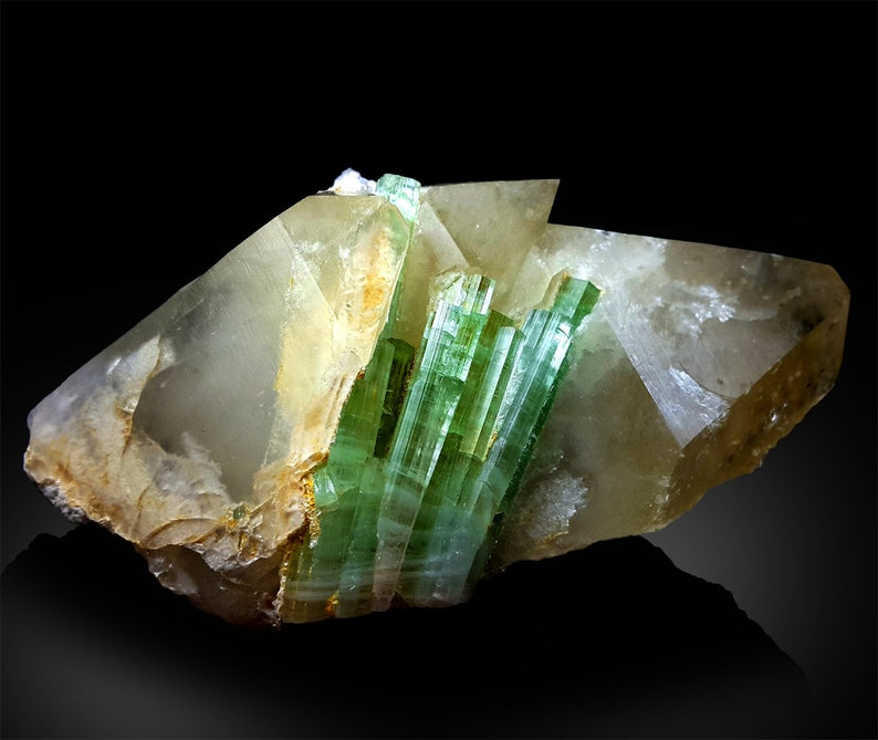 Green Tourmaline Crystals on Quartz Mineral Specimen from image 0