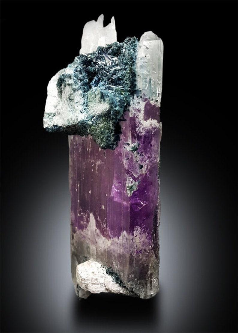 Bicolor Kunzite with Blue Tourmaline Crystals Mineral Specimen image 0