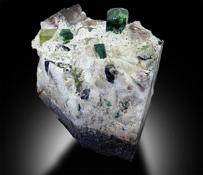 Tourmaline Crystal  Triphane Kunzite  Apatite  Quartz Combo image 0