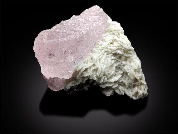 60*41*31 mm Natural Pink Morganite Crystal on Albite from Afghanistan 72 gram
