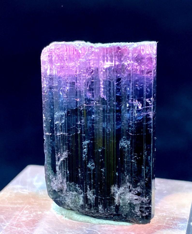 Pink Blue Bicolor Tourmaline Crystal from Paprock Afghanistan image 0
