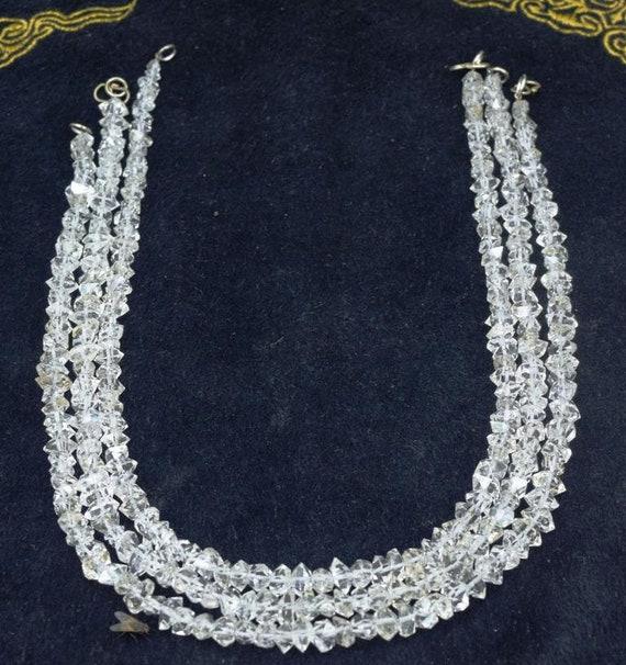 03 pièce grande taille double clair pointes de quartz diamant clair double naturel collier de cristaux herkimer 400 mm de long - MP (02) cd197c