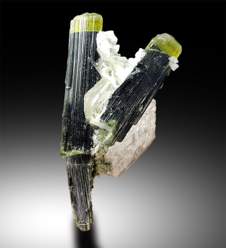 Green Cap Elbaite var Tourmaline Crystals with Albite and Mica image 0