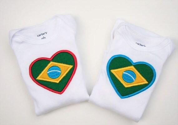 77f2f2f3fb29 Brazilian flag baby bodysuit twins set Body Bandeira do