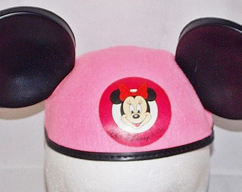 239ab0b1eeb30 Walt Disney World Authentic Minnie Mouse Ears Pink Hat Cap Vintage Youth  Size