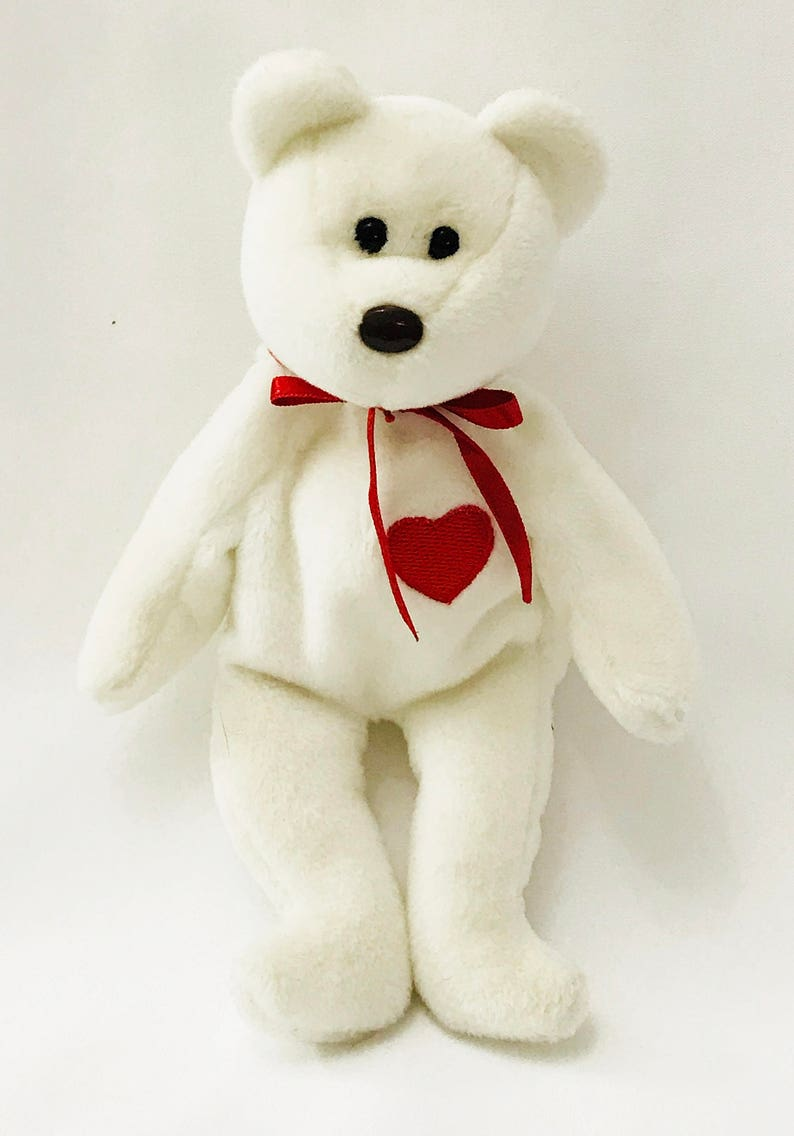 Valentino Bear Beanie Baby White Brown Nose Red Heart Retired  4d29e223af2