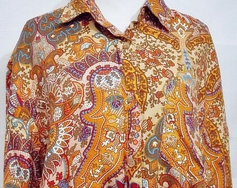Van Heusen for Her Shirt Retro Paisley Print Button Front Long Sleeve