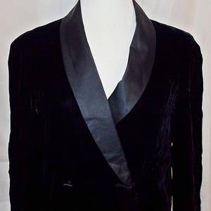 Albert Capraro Coat Dress Tuxedo Velvet Satin Black sz 10 Vintage Designer ILGWU