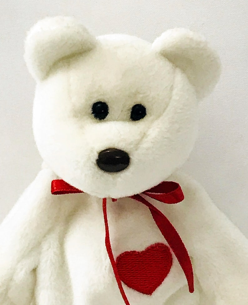 15f84ab515d Valentino Bear Beanie Baby White Brown Nose Red Heart Retired