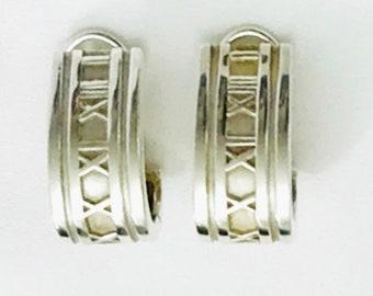 Tiffany & Co. Atlas Earrings Hoops Sterling Silver 925 Clip On 1995 Vintage