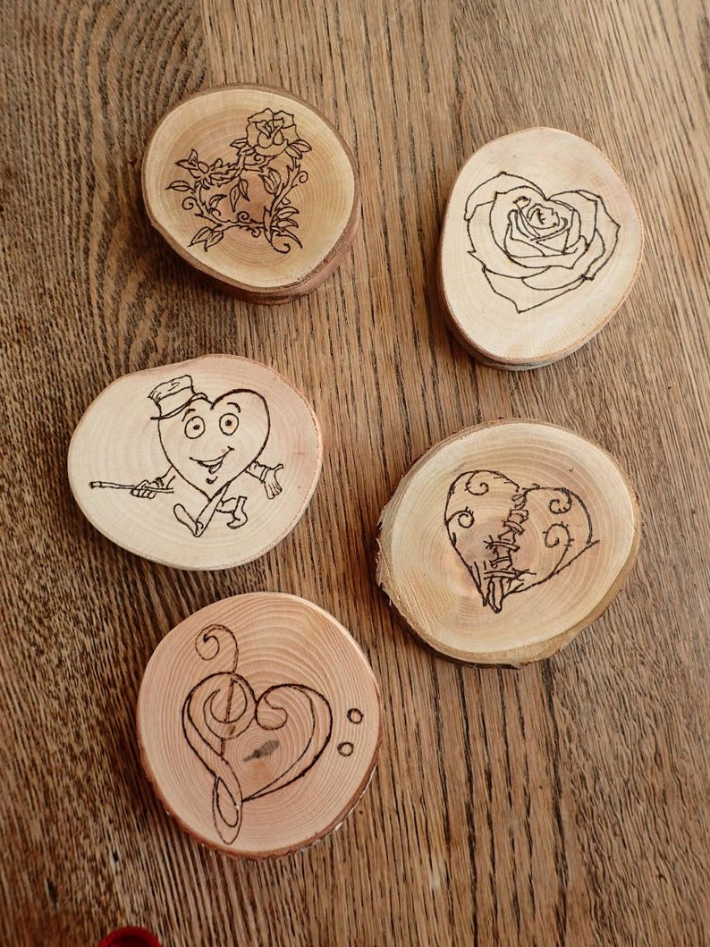 valentines themed designs on small natural wood coasters image 1