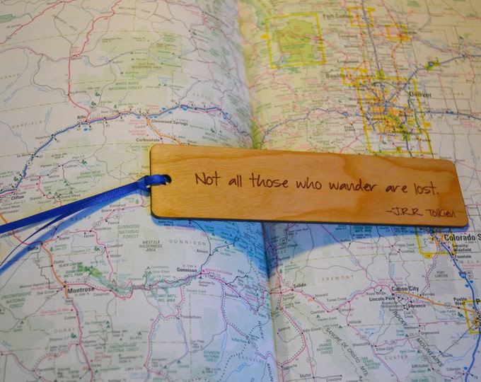 TRAVEL BOOKMARKS: Choose from three quotes; see list in photos for choices! Each one is engraved on cherry wood, and can be personalized!